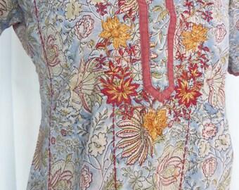 60s vintage Biba boho hippie style tunic/ grey blue burgundy floral/metallic embroidery: EU 36- fits US 6-8
