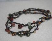Crochet Beaded Necklace Bracelet with semi precious stones