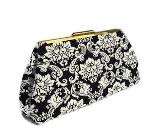 Black & White Damask clutch purse/ Handmade/ Bridal accesory purse/ Black Wedding clutch purse/ Black, white wedding, black evening clutch