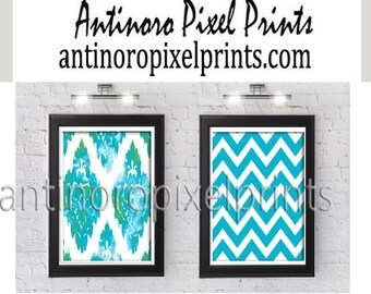 Chevron Ikat Water color Digital Prints. Turquoise Green White Wall Art. Set of (2)  Wall Art Prints -  (UNFRAMED)