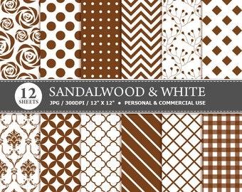 BUY 1 GET 1 FREE - 12 Sandalwood & White Digital Scrapbook Paper, digital paper patterns for card making, invitations, scrapbooking