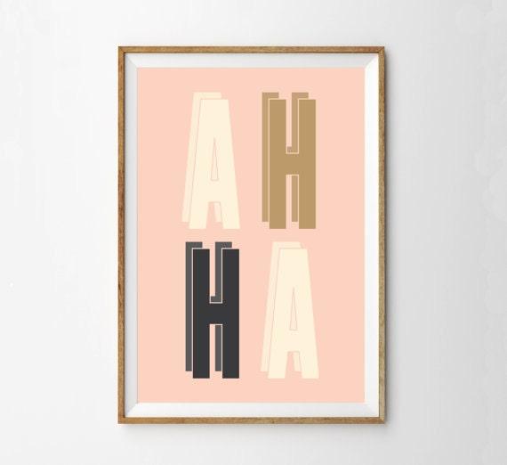 Retro Modern Typographical Wall Art Print | Pink Midcentury Modern Typography Poster Print | AH HA | Inspirational Home Office Art Print