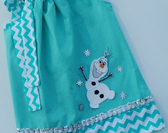 Snow Man With Snow Flakes Pillowcase Dress