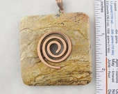 Picture Jasper Square Donut Pendant with Removable Copper Finished Spiral Bail