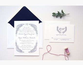 LETTERPRESS SAMPLE | Letterpress Wedding Invitation |  Vine Invitation | Garland Wedding Invitation | Winter Wedding | Wreath Invite