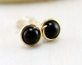 Black Onyx Earrings, 14k Gold Filled Black Gemstone Yellow Gold Onyx Stud Earrings Wire Wrapped Post Studs