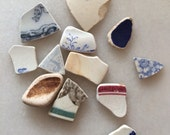 Scottish Sea / Beach Pottery   -  Mixed Design Pottery Shards - measured next to 5p (us cent)