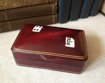 Italian Leather Playing Card Case Miniature Playing Cards Masenghini Bergamo Box