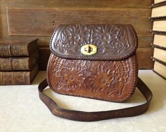 Vintage 50s 60s ~ True Vintage Seinna Brown Artisan Tooled Leather Handbag