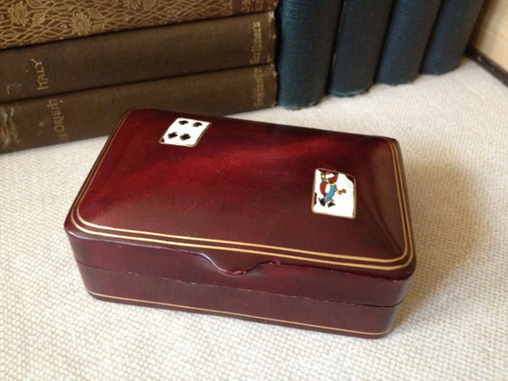 Italian Leather Playing Card Case Miniature Playing Cards