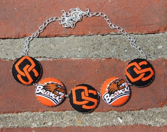 Oregon State University Fabric Covered Button Necklace