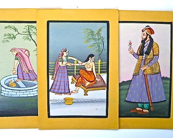Original Indian Watercolour/Gouache Paintings x 3, Vintage - Traditional Style Indian Art on Card, Three, Original, 30 to 35 years old