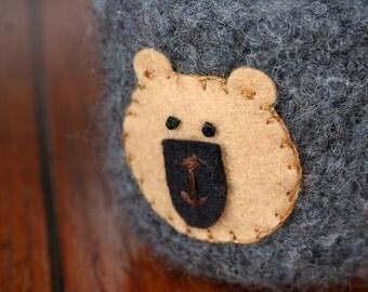 woodland brown bear grey wool felted bowl cup