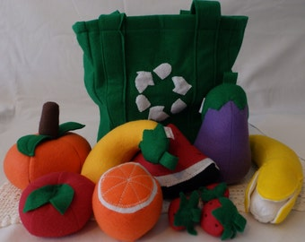 toy food with fruit,veggies,and grocery bag