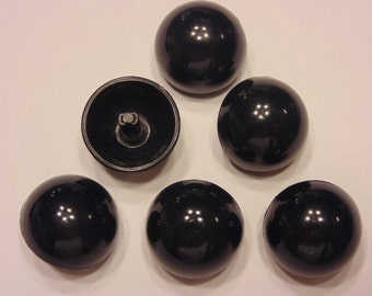 6 vintage large navy blue dome buttons, 22 mm ( B11)