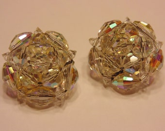 vintage crystal clip earrings, 25 mm (A11)