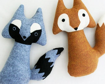Woodland Fox and Raccoon Pair of Stuffed Animal Toys