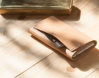 iPhone SE, 6, 6 Plus Leather Sleeve - iPhone Case and Wallet All In One - Nude Full-Grain Vegetable Tanned Leather