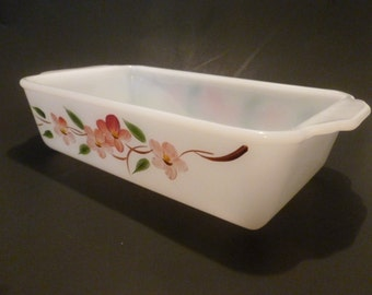 1950s Fire-King Casserole Dish, One Quart Cooking Ware,  Anchor Hocking USA, Vintage Rectangle Ovenware Meatloaf Pan, Peach Blossom Dogwood