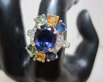 Indian Iolite and Sapphire Ring