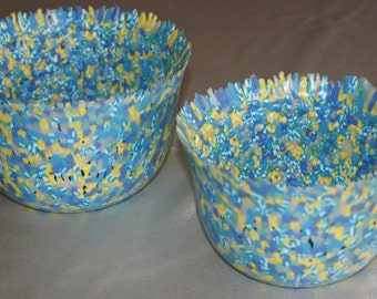 This set of 2 Perler Bead Bowls are sure to brighten up any room in your home
