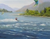 Wind and Water - Small original water sport landscape painting
