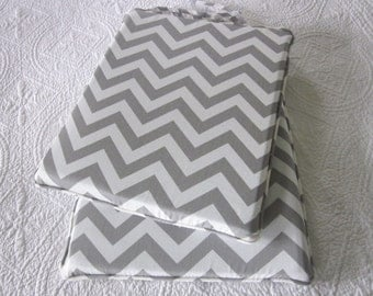 1 Grey Chevron chair cushion 14 x 14""