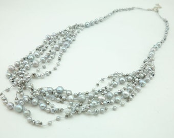 Gray freshwater pearl and crystal on silk long necklace.