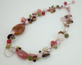 Cherry quartz,rose quartz and multi stone hand knotted on silk