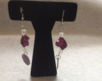 Vintage Costume Silvertone with Purple/Violet Beaded Dangle Earrings