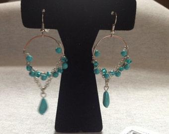 Vintage Costume Silvertone Glass Turquoise Beaded Design Dangle Earrings