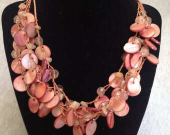 Vintage Dyed Mother of Pearl 4 Strand Necklace