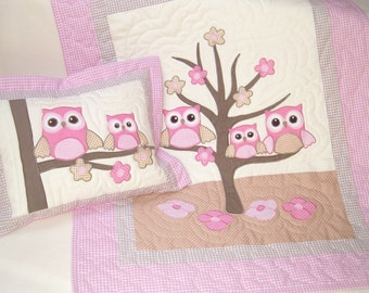 Owl Quilt and Personalized Owl Pillow  and Pillowcase