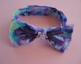 Purple Flower Girl  Dog Bow  XSmall