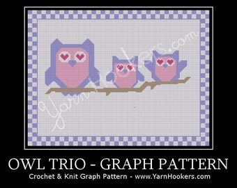 Owl Trio - Afghan Crochet Graph Pattern Chart - Instant Download