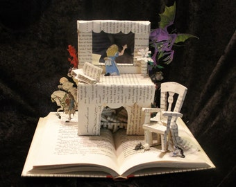 Through the Looking Glass Book Sculpture