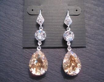 Champagne Swarovski Crystal Drop Earrings/ Wedding Earrings/ Bridesmaid Jewelry/ Crystal Earrings/ Bridesmaid Gift/ Turquoise Earrings