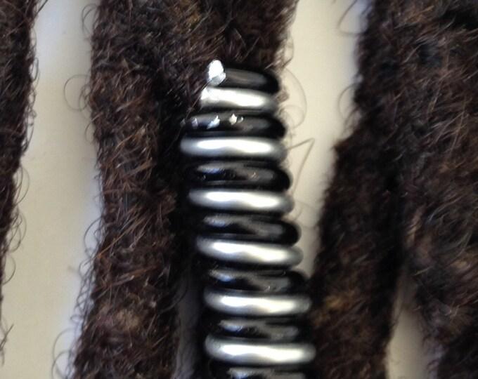 Silver Black Dreadlock Braid Twist Hair Bead Dread Locs Jewelry