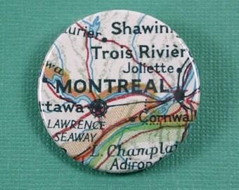 Pinback Button, Montreal, Ø 1.5 Inch Badge, Atlas, Travel, vintage, fun, typography, whimsical