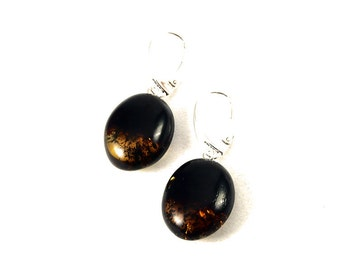 Natural Baltic Amber Earrings Transparent Cherry Drops Sterling Silver 925 4 g
