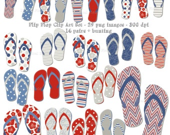 Flip Flop Clip Art Set - red blue grey summer printable digital clipart - instant download