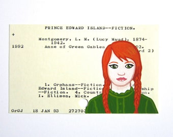 Anne of Green Gables Library Card Art - Print of my painting of Anne on library card catalog card for L.M. Mongomery's Anne of Green Gables