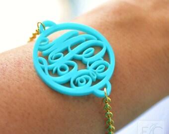 Elegant circle acrylic monogram bracelet (an original ElizaJayCharm design)