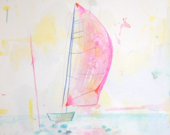 "Archival Print of Original Watercolor ""pink sailboat"""