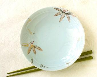 Vintage Japanese Serving Plate Bamboo Gold Celadon Appetizer Sushi Sashimi