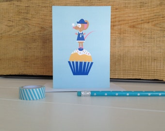 Little Mouse And Cupcake Birthday Card