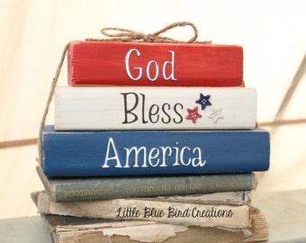 God Bless America wood block set - shelf sitter - patriotic - usa - red white blue home decor - fourth of july