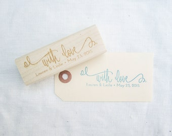 With Love Stamp - Personalized Wedding Calligraphy Stamp - Hand lettered With Love wedding favor stamp personalized with names - H0008
