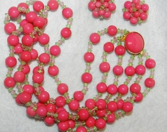 Vintage Hot Pink Watermelon Summer, Cocktails and Friends Beaded Necklace and Earring Set