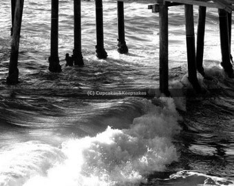 "Beach ""Crashing Waves"" Fine Art Photograph Black and White"